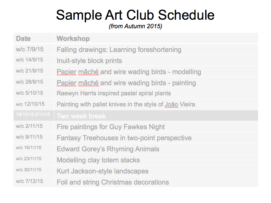 sample art club schedule