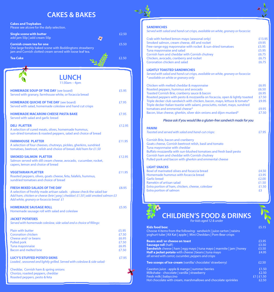 CAFE MENU FRONT BACK