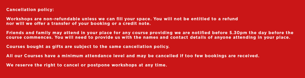 Cancellation Policy for adult workshops