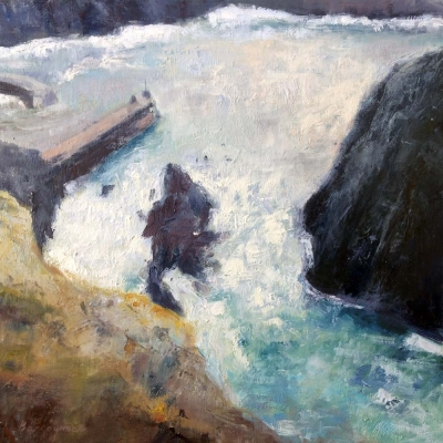 Stormy sea mullion pleinair